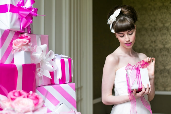 Bride holding present