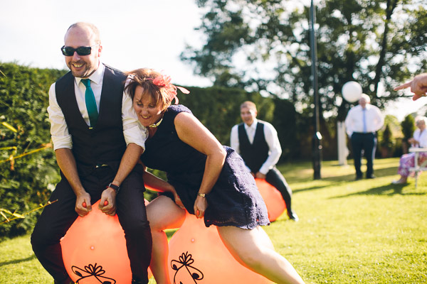 Wedding guests on space hoppers