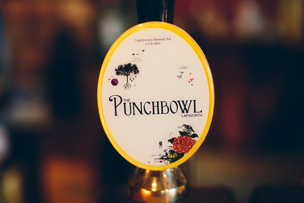 The Punchbowl label on beer pump