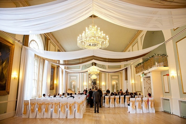 Ceiling Drapes at City Rooms - More Weddings