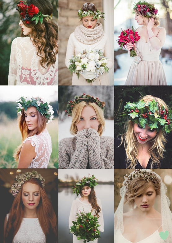 Floral Crowns for Winter Weddings Mood Board