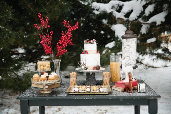 Christmas wedding cake table