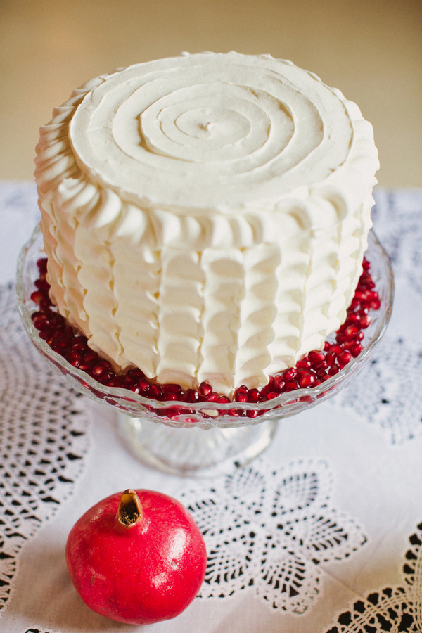 White iced cake