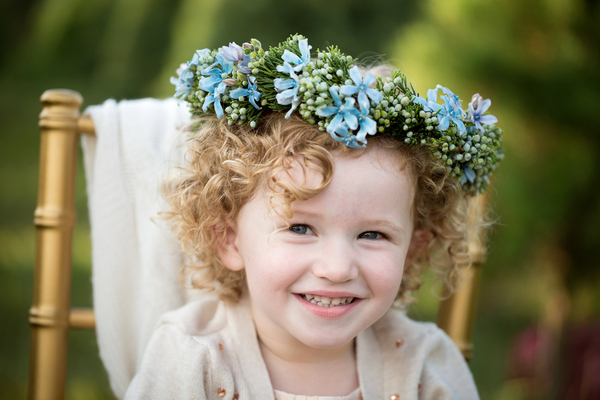Flower girl with blue flower crown