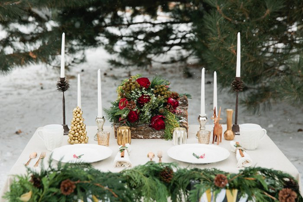 Candles and Christmas table centrepiece