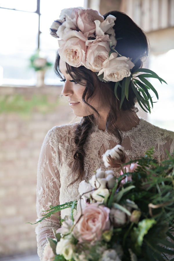 Bride with floral headpiece and bouquet