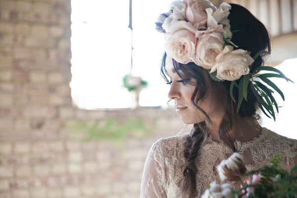 Bride with large floral headpiece