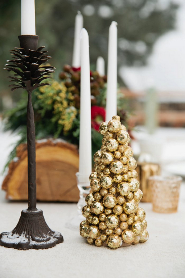 Gold ball table decoration