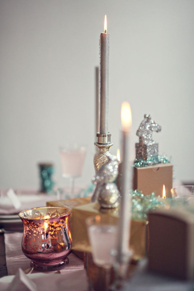Candles on wedding table