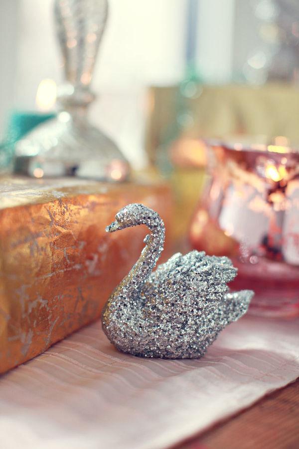 Glittery swan