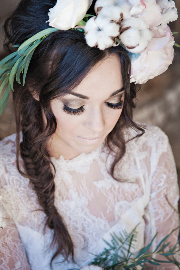 Bride wearing lace dress