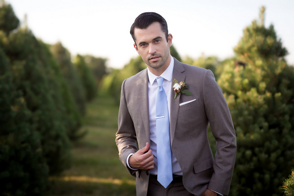 Groom with blue tie