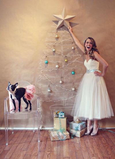 Bride putting star on Christmas tree illustration