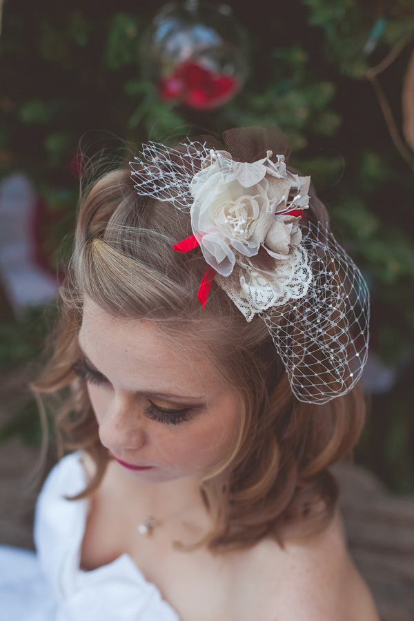 Bride's net and flower hairpiece