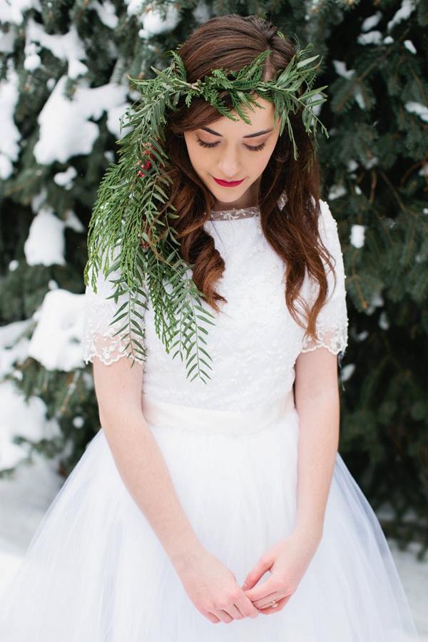 Bride with leaf headpiece