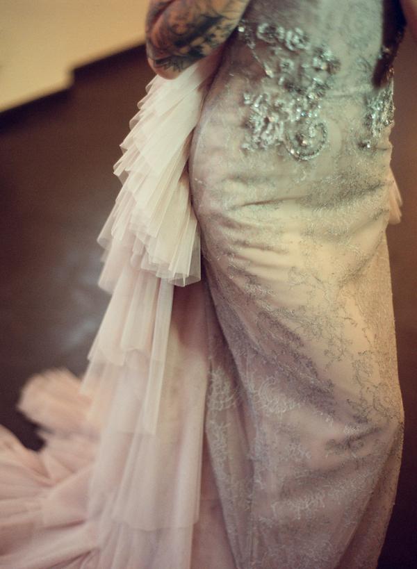 Detail on silver wedding dress