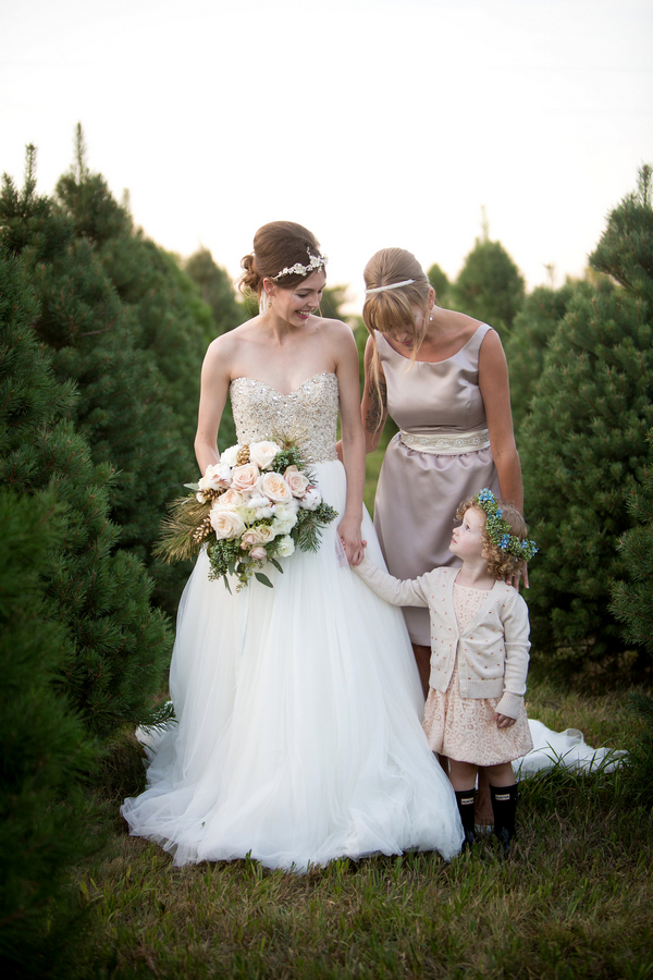 Bride, bridesmaid and flower girl