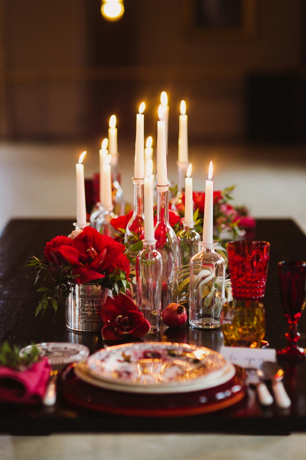 Candle wedding table centrepiece