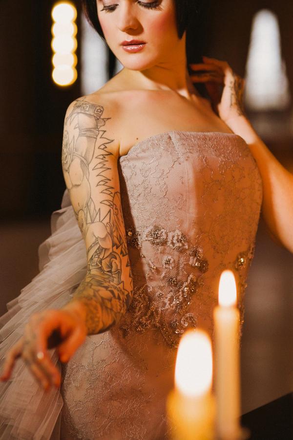 Detail on bride's silver wedding dress
