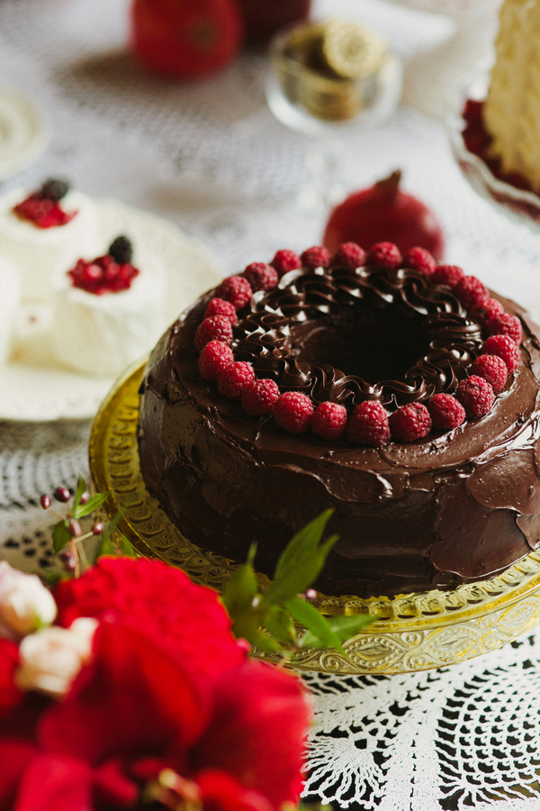 Chocolate cake with winter berries