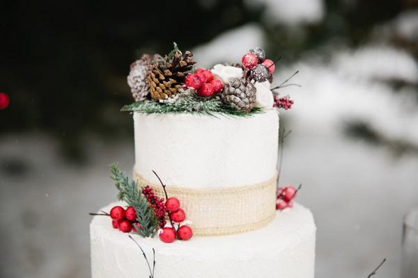 Pine cone decoration on Christmas wedding cake