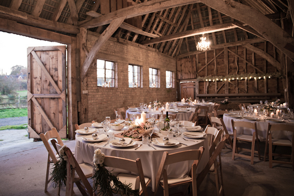 Wedding tables in barn