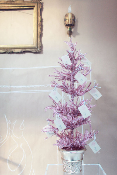 Wedding escort cards on Christmas tree
