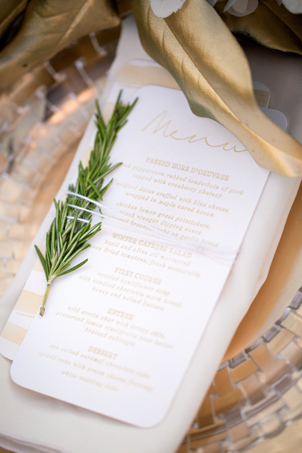 Wedding menu with sprig of Christmas tree