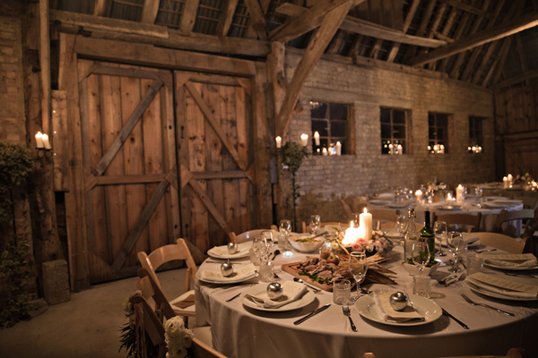 Wedding table in barn