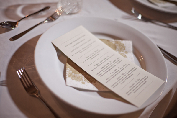 Wedding menu on plate