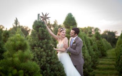 A Christmas Tree Farm Wedding Shoot