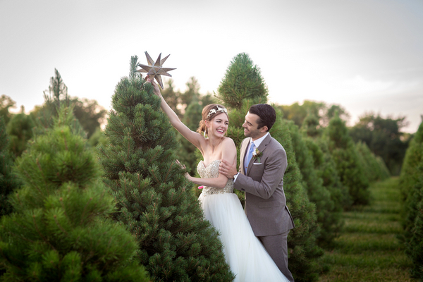 A Christmas Tree Farm Wedding Shoot