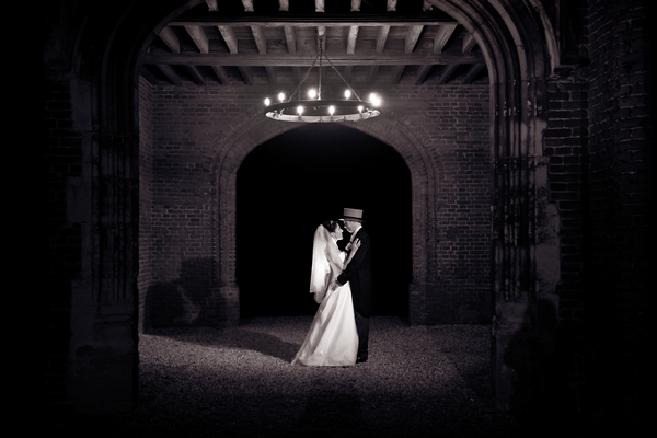 Couple Under Leez Priory Tower at Night