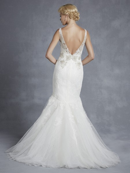 Back of Haleyville Wedding Dress - Blue by Enzoani 2015 Bridal Collection