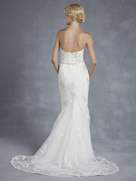 Back of Hanoi Wedding Dress - Blue by Enzoani 2015 Bridal Collection