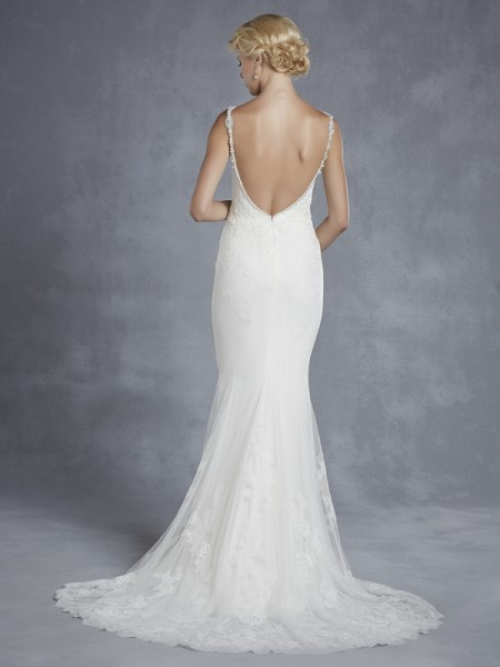 Back of Harrison Wedding Dress - Blue by Enzoani 2015 Bridal Collection