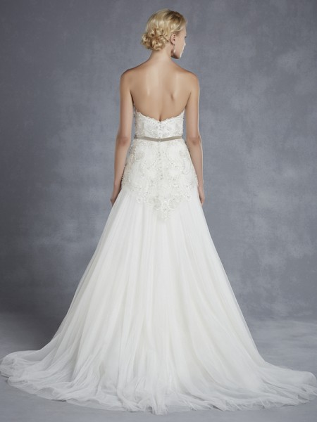 Back of Hennessey Wedding Dress - Blue by Enzoani 2015 Bridal Collection