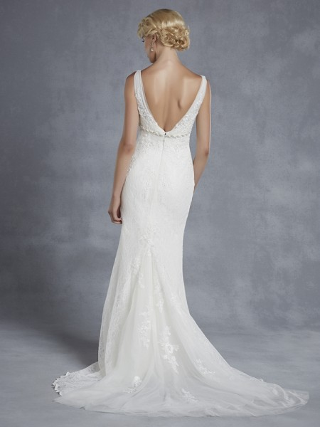 Back of Honolulu Wedding Dress - Blue by Enzoani 2015 Bridal Collection