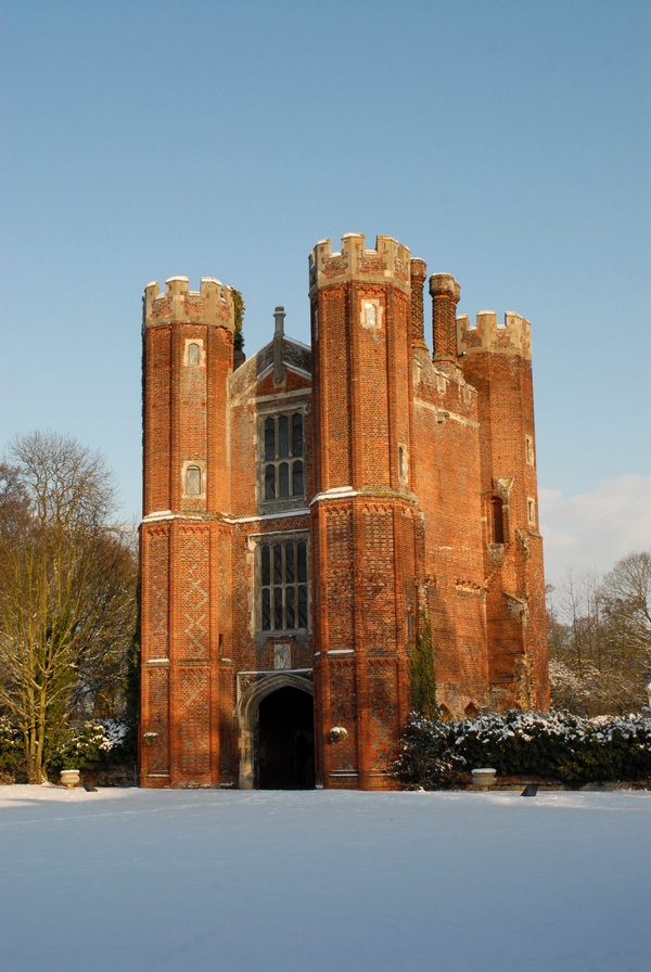 Leez Priory Tower in Snow