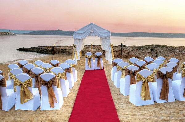 Ceremony Seating at Paradise Bay Beach Wedding Location in Malta