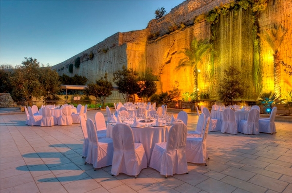 Wedding Reception Tables at The Limestone Heritage Park & Gardens in Malta