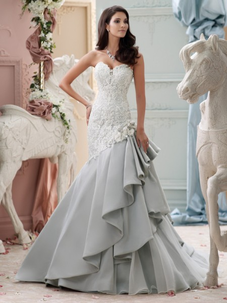 115230 - Blue Wedding Dress - David Tutera for Mon Cheri Spring 2015 Bridal Collection