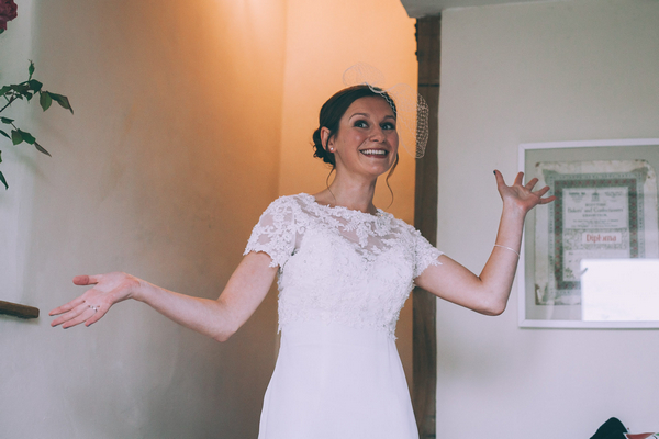 Bride with arms out