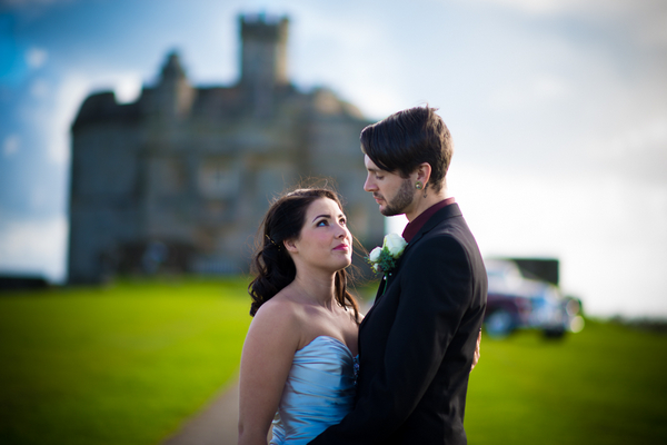 Bride and groom outside Pendennis Castle