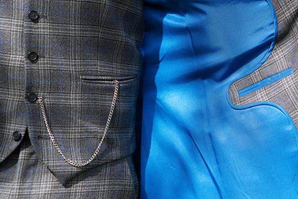 Blue lining of groom's jacket