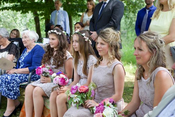 Bridesmaids sitting