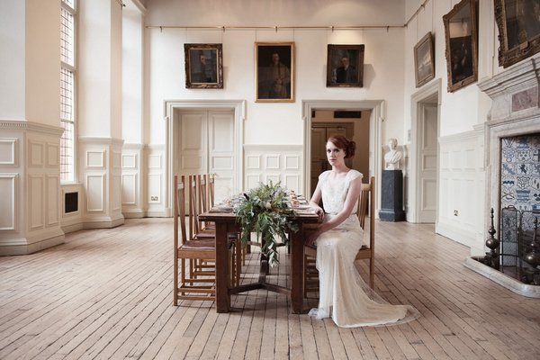 Bride sitting at table