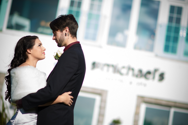 Bride and groom outside St Michael's Hotel and Spa