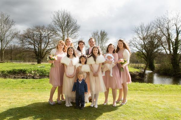 Bride, groom and bridesmaids