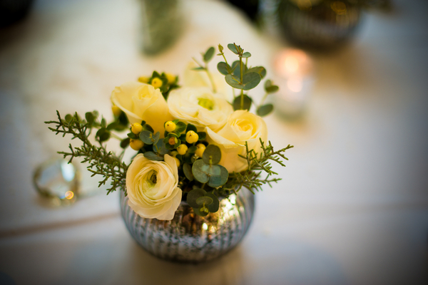 Small floral wedding table display